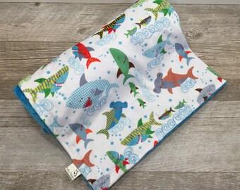 Baby Boy Blanket Minky Baby Blanket Sharks Ocean Crib Bedding Ocean Sharks and Ocean Crib Bedding