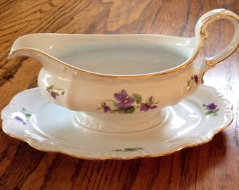 Haviland Violets Gravy Boat with Plate