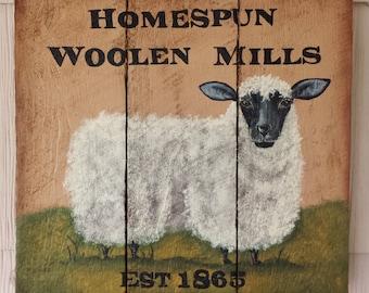 Hand Painted Folk Art Sheep Palette Wood
