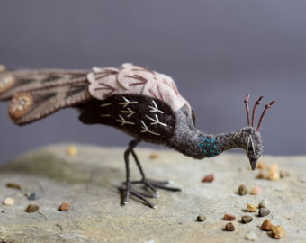 Peahen made from superior grade felt and embroidery stitches, earthy home accessories, artistic bird.