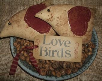 Primitive LOVE Birds Spring Valentine Birdies Pair (2) Bowl Filler Ornies OFG HAFAIR Teams