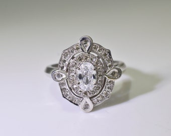 Art deco style engagement ring Genuine Rose Cut Diamond Ring 14K White Gold & Diamond Semi Mount Ring Antique 4.8 grams 1