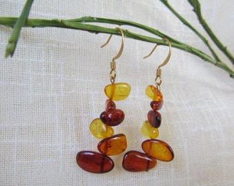 """Baltic Amber Earrings 2.0"""" Dangle Mix Cognac Color Amber Jewelry"""