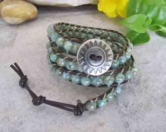 Wrap Bracelet, Leather Wrap Bracelet, Boho Wrap Bracelet, 3 x Wrap Bracelet, Mint Green Wrap Bracelet, Leather Wrap Bracelet, Boho Jewelry
