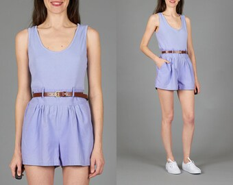Vintage 80s Medium / Large Lavender Sleeveless Romper