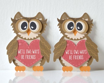 Mini Owl Valentine's Cards Set of 12: paper handmade valentine, pass valentines, classroom, teacher, children, owl-ways be friends- LRD001V
