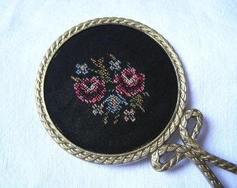 70s Tapestry-Gobelin Mirror / Hand Embroidered Flower Pattern / For Handbag