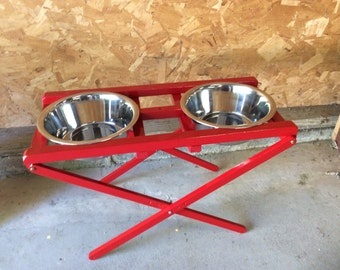 Custom pet supplies! Adjustable Dog Double Dinner stand designed and made by us! OOAK pampered pooch gift.