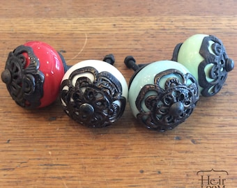 Ceramic & Brass Decorative Knob - Furniture Pull - 3 colors -