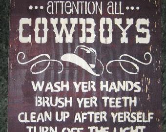Cowboy bathroom sign..........wall sign/ subway sign/cowboys/bathroom/kids/children
