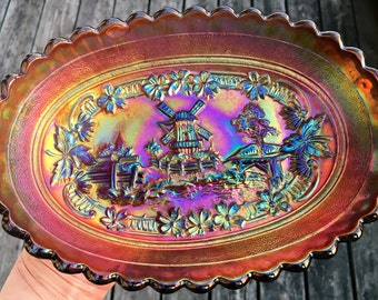 Antique Imperial Carnival Glass~~Windmill Pickle Dish~~Lovely lavender
