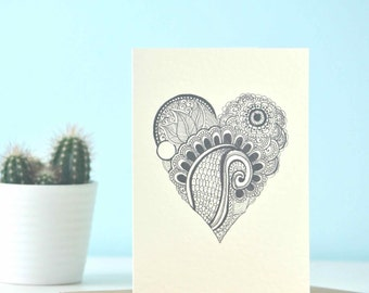 Personalised Valentines card - Soulful Heart' eco friendly illustration - perfect personalised i love you card