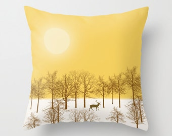 Deer in a Snowy Forest Decorative throw pillow cover-Trees Yellow pillow-16x16 pillow-18x18 pillow-20x20 pillow-Modern pillow cover