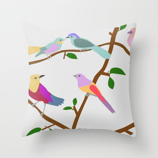 Birds Decorative throw pillow cover-16x16 by TheRedUmbrellaShop
