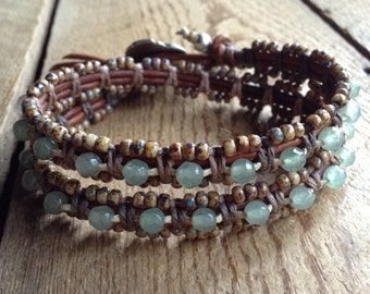 16 Aventurine bohemian bracelet boho chic beaded boho bracelet hippie bracelet hippie jewelry gypsy bracelet womens jewelry boho jewelry
