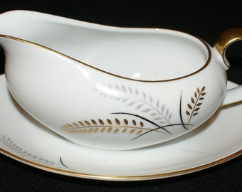 Lipper & Mann (L and M), Harvest Gold, Gravy boat with underplate