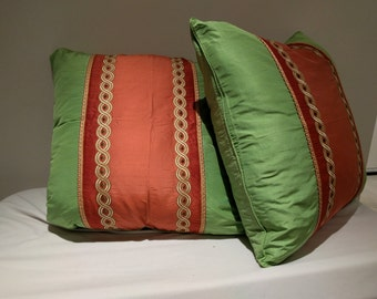 Pair of Vibrant Silk Accent Pillow covers