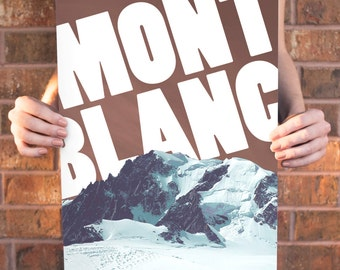 Mont Blanc, French Alps Poster 11x17 18x24 24x36
