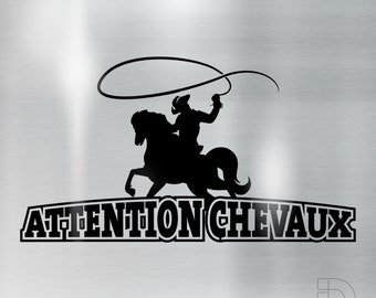 Attention horse Cowboy - cut vinyl