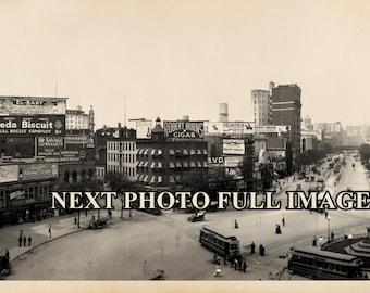 "1907 Columbus Circle New York City Vintage Panoramic Photograph 7"" x 23"" Long"