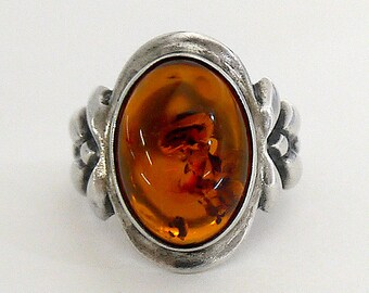 Sterling Silver Vintage Oval Amber Ring of Large Baltic Amber from Poland, Stamped