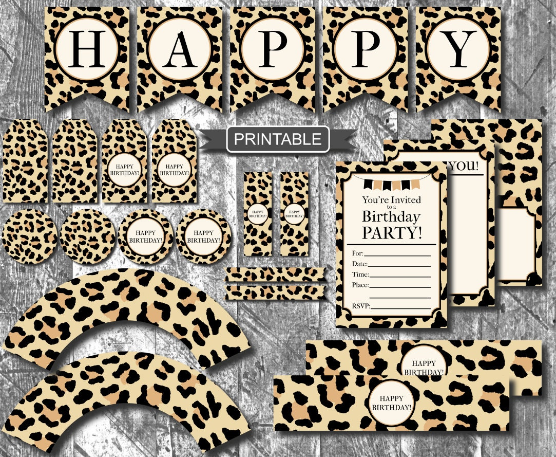 Diy leopard print cheetah print birthday party decorations for Animal print party decoration ideas