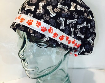 Scrub Cap or Vet Surgical Hat-Puppy Paws and Bones with Puppy Paw Trim