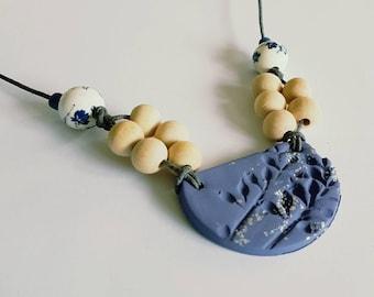 Deep purple clay pendant bead necklace.