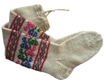 Wool Socks, Long Wool Socks, Long Socks, Hand Embroidered Socks, Women's Socks, Collectible Socks, Folk Socks, Christmas Gift