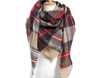 Oversized Blanket Check plaid Scarf Scarves Wrap Shawl Fringe Throw Cape