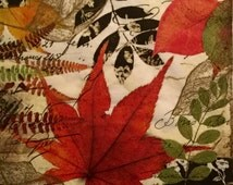 """Decoupage Lunch Napkins, Set of 3, Beautiful Autumn Leaves 13"""" x 13"""""""