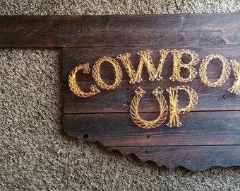 Reclaimed Oklahoma Shaped Oklahoma State Inspired Wood Cowboy Up String Art Decor