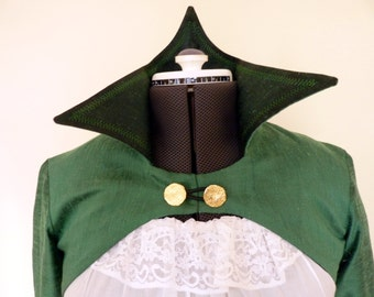 Bolero Jacket and Skirt,Green Faerie Jacket,Godet Sleeves,Pirate outfit,Steampunk,Middle Earth