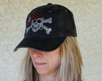 Pirate Skull and Crossbones Gasparilla Distressed Black Baseball Hat Tampa Run Tampa Bay