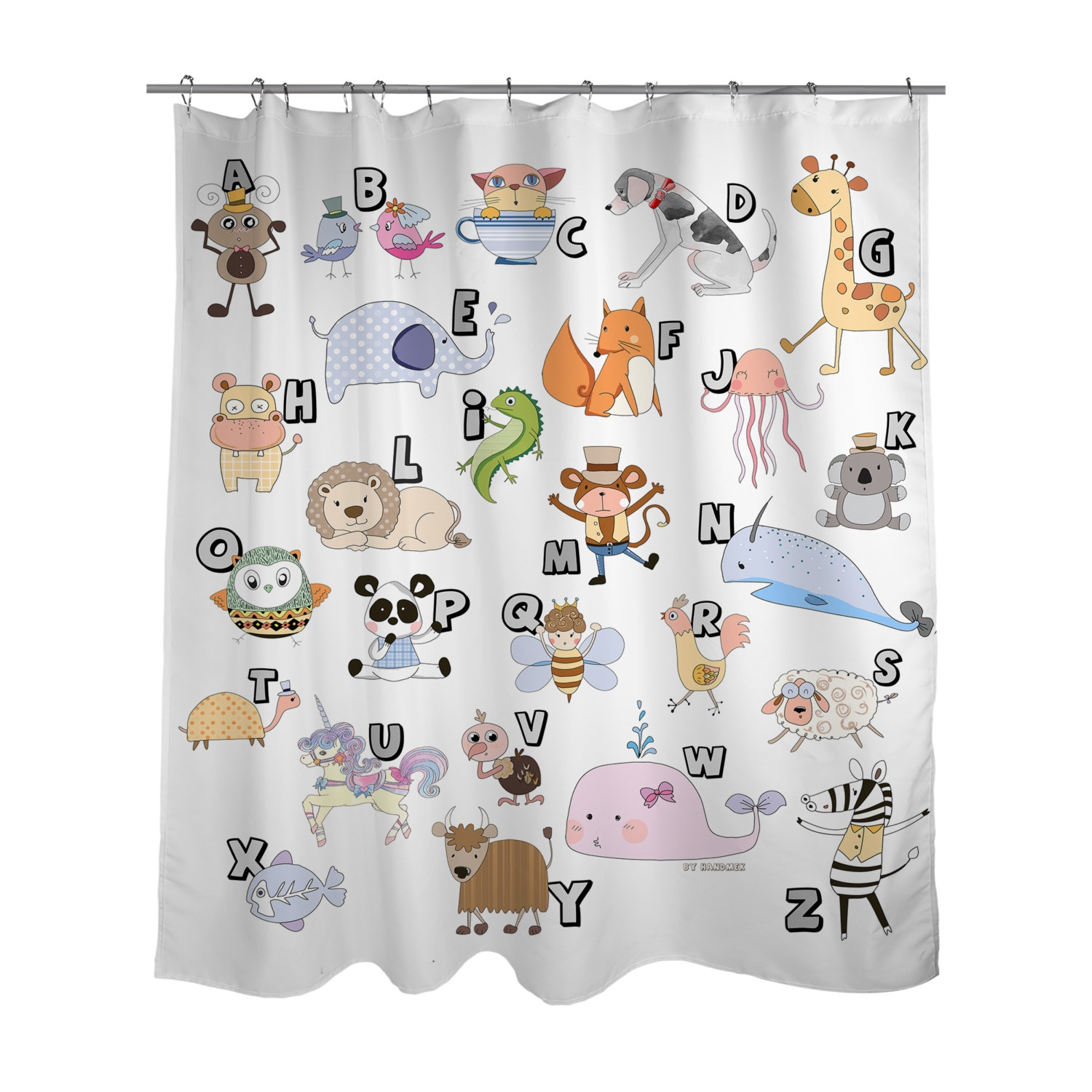 Animal Alphabet Shower Curtain KIDS Bath Curtain