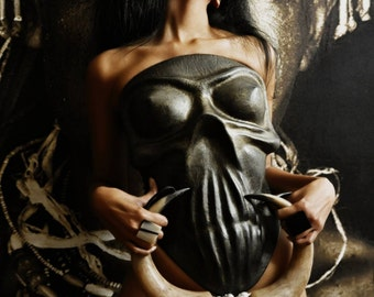 New!  Free shipping Unique Leather Corset Goth Corset Couture Corset in the form of a skull
