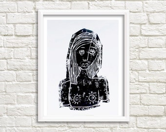 Linocut portrait / Handpulled face