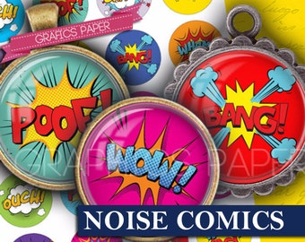 "Noise comics superhero cartoons digital collage sheet 1.5"", 1.25"", 30mm, 1 inch Circle images for Bottle caps Pendants images - td285"