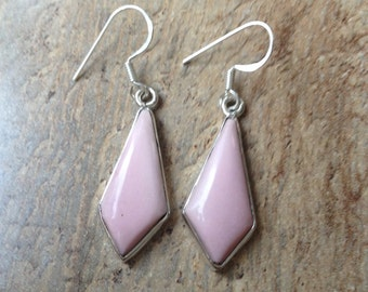 925 Sterling silver earrings/ Pink Opal gemstone earrings
