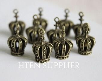 20pcs Antique Bronze Crown Pendant , Crown Charm Pendants