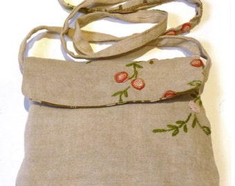 Bag pouch embroidered linen