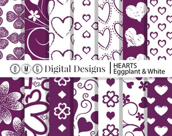 Eggplant Purple Heart Digital Paper: Purple Hearts Digital Paper Pack, Valentine Digital Papers, scrapbook papers, digital background