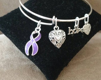 Purple Ribbon Awareness Support Expandable Bangle Bracelet Lupus Domestic Violence Charms