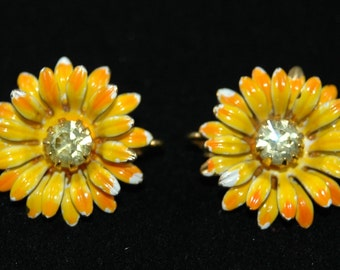 Vintage Yellow Flower Clip On Earrings with Clear Stone Centers Metal Construction      01072