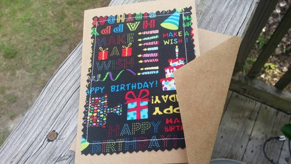 Handmade Birthday Cards / Fabric Scrap Birthday Card / Handmade Greeting Card/Blank Birthday Card /Customizable Birthday Card /Birthday Gift