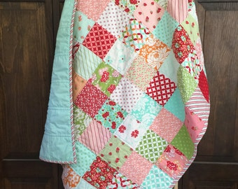 Patchwork baby quilt, baby girl quilt, hello darling fabric, pink, aqua, red