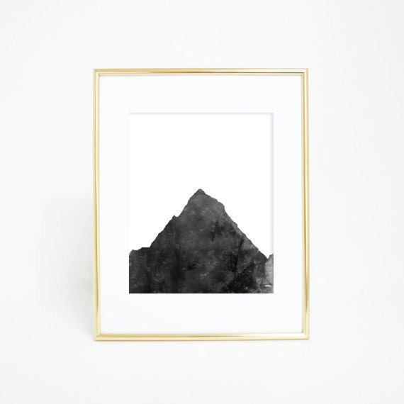 Black and White, Mountain Print, Mountain Wall Art, Woodland Decor, Woodland Nursery, Minimalist Print, Minimalist Decor, Wall Art