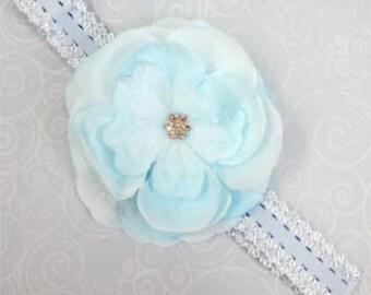 Light Blue Jeweled Rose Flower Headband Photo Prop