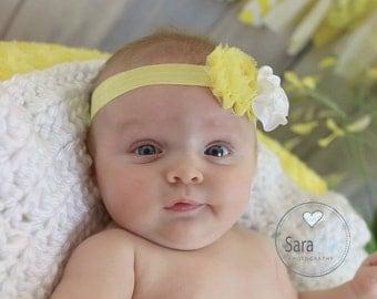 Yellow/White Kara Baby Flower Headband Photo Prop