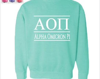 Alpha Omicron Pi // A O II // Sorority Comfort Color Greek Letters Sweatshirt // Choose Your Color